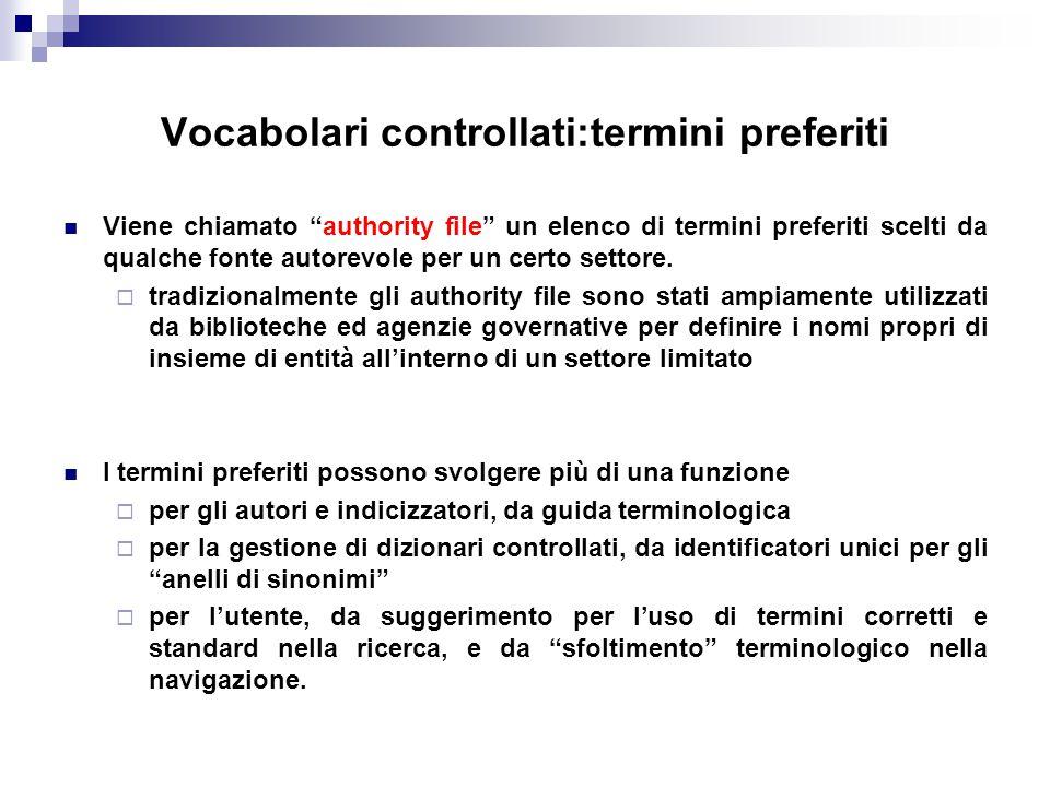 Vocabolari controllati:termini preferiti