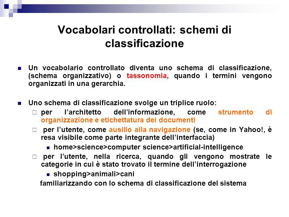 Vocabolari controllati: schemi di classificazione