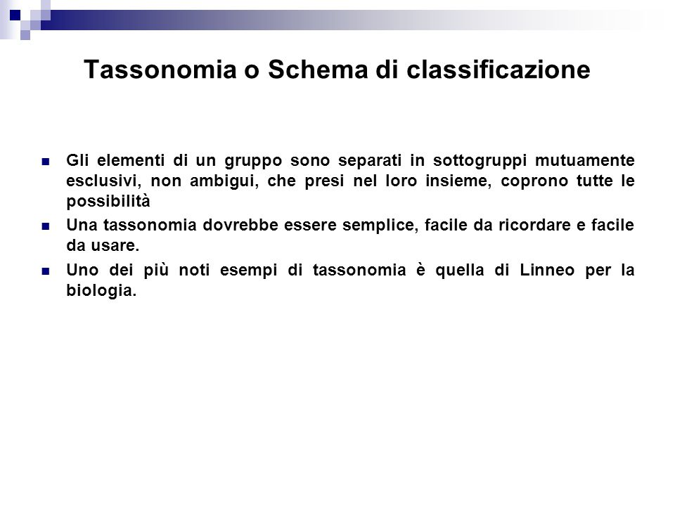 Tassonomia o Schema di classificazione