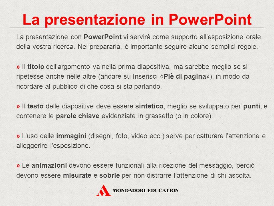 La presentazione in PowerPoint