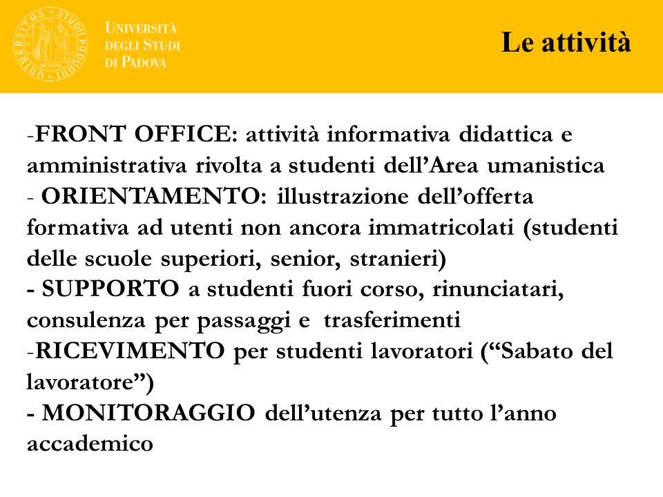 Le attività FRONT OFFICE: attività informativa didattica e amministrativa rivolta a studenti dell'Area umanistica.