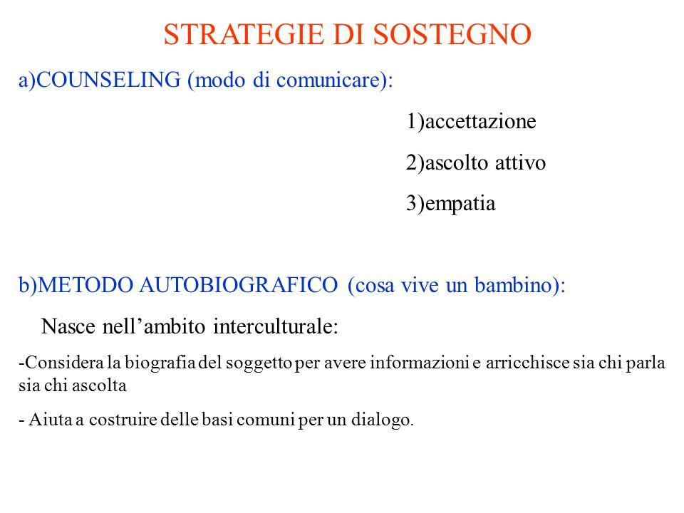 STRATEGIE DI SOSTEGNO a)COUNSELING (modo di comunicare):