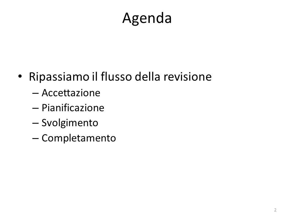 Agenda Ripassiamo il flusso della revisione Accettazione