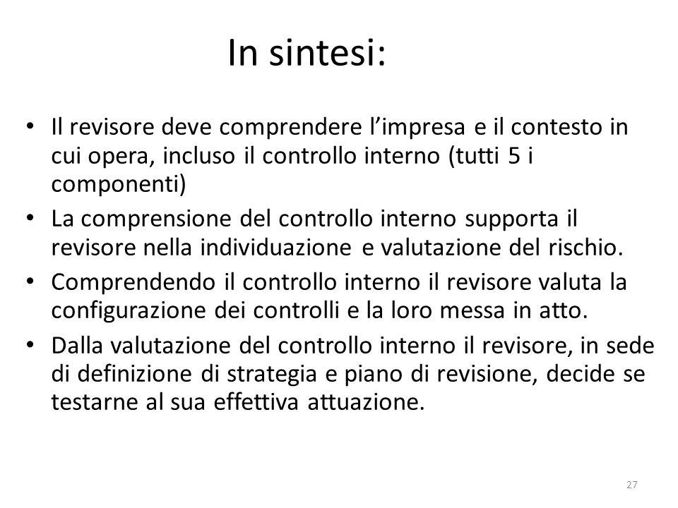 In sintesi: Il revisore deve comprendere l'impresa e il contesto in cui opera, incluso il controllo interno (tutti 5 i componenti)