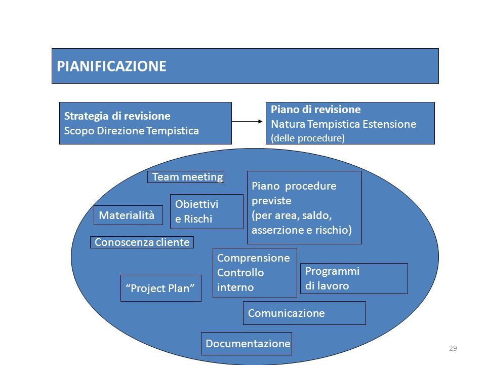 PIANIFICAZIONE Piano di revisione Strategia di revisione