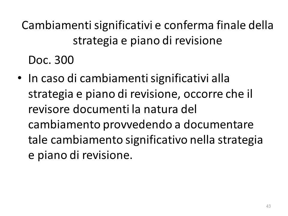 Cambiamenti significativi e conferma finale della strategia e piano di revisione