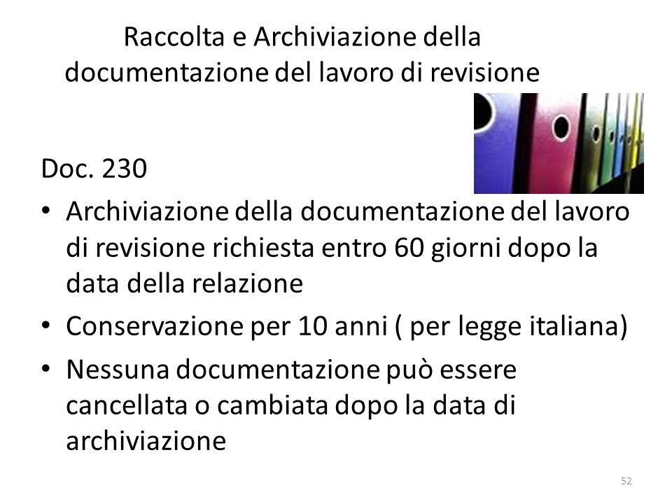 Raccolta e Archiviazione della documentazione del lavoro di revisione
