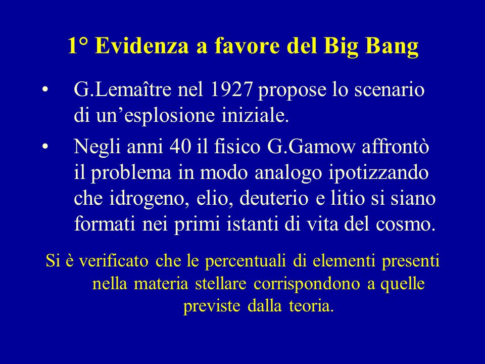 1° Evidenza a favore del Big Bang