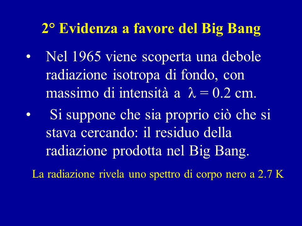 2° Evidenza a favore del Big Bang