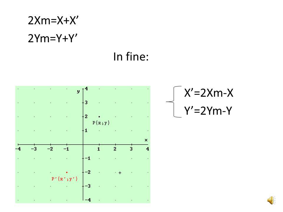 2Xm=X+X' 2Ym=Y+Y' In fine: X'=2Xm-X Y'=2Ym-Y