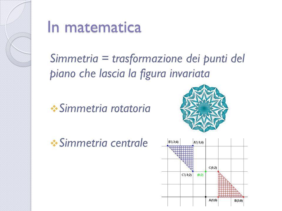 In matematica Simmetria = trasformazione dei punti del piano che lascia la figura invariata. Simmetria rotatoria.