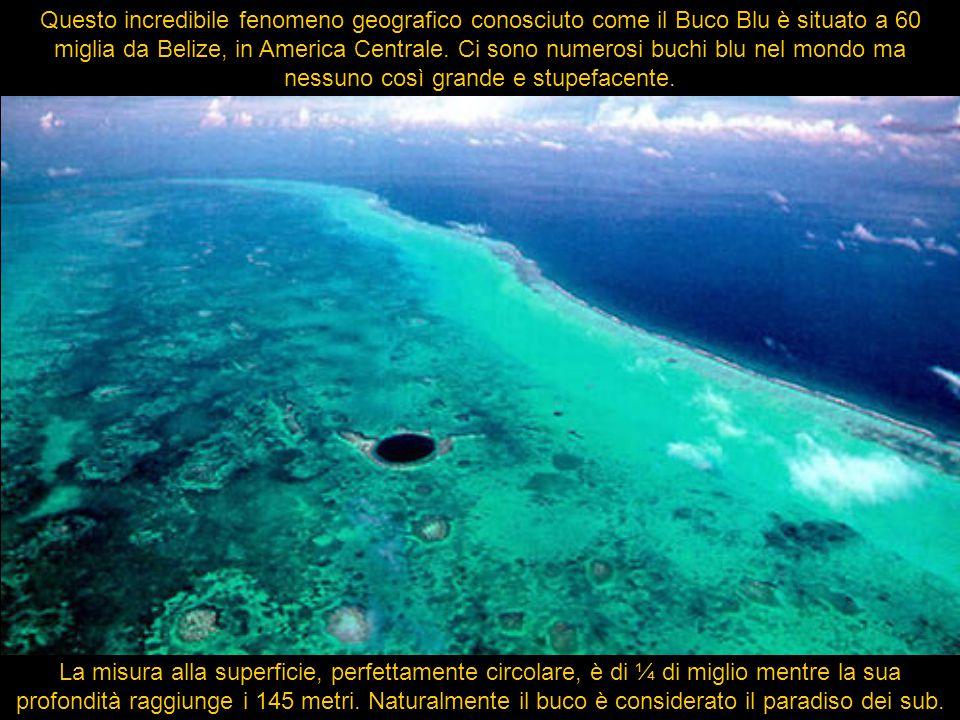 Questo incredibile fenomeno geografico conosciuto come il Buco Blu è situato a 60 miglia da Belize, in America Centrale. Ci sono numerosi buchi blu nel mondo ma nessuno così grande e stupefacente.