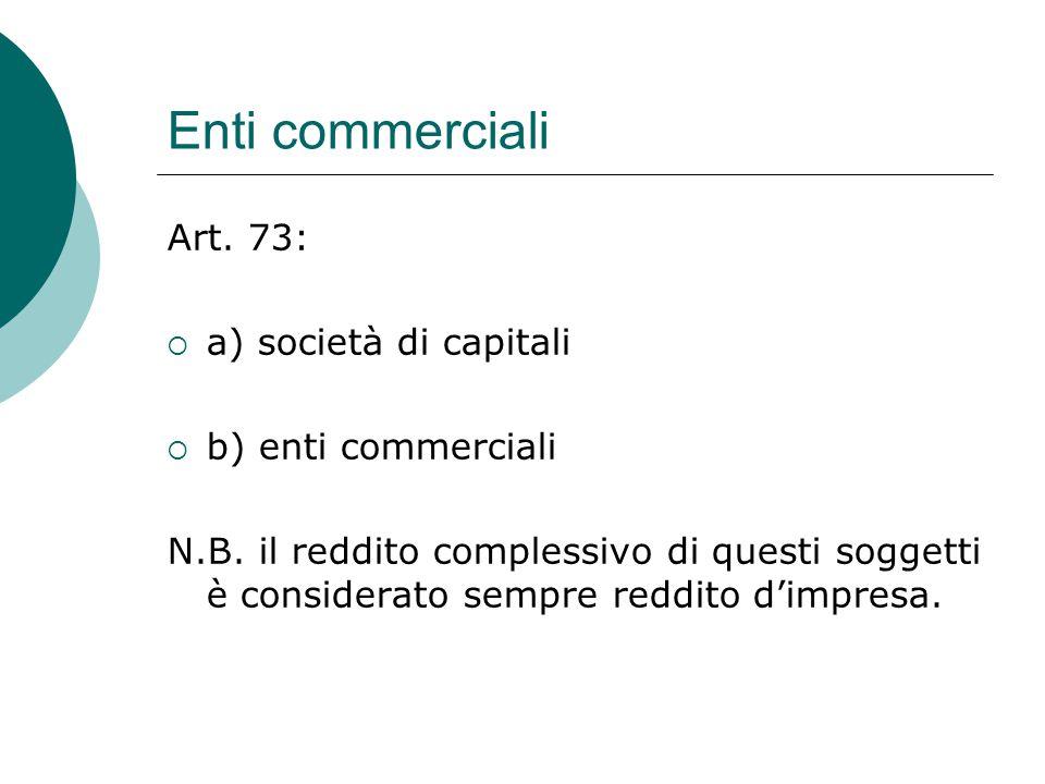 Enti commerciali Art. 73: a) società di capitali b) enti commerciali