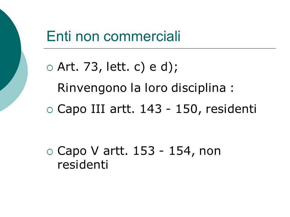 Enti non commerciali Art. 73, lett. c) e d);