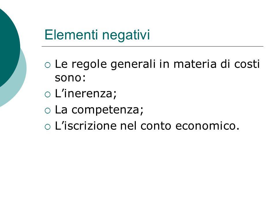 Elementi negativi Le regole generali in materia di costi sono: