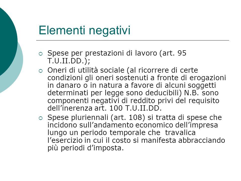 Elementi negativi Spese per prestazioni di lavoro (art. 95 T.U.II.DD.);