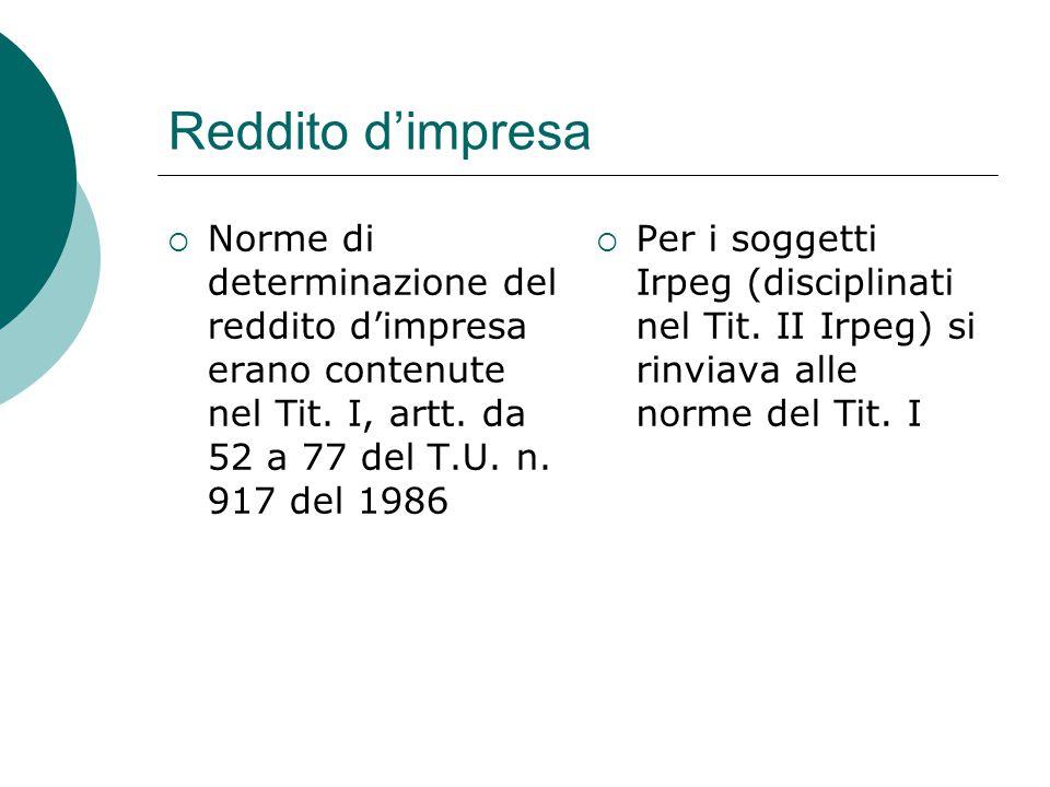 Reddito d'impresa Norme di determinazione del reddito d'impresa erano contenute nel Tit. I, artt. da 52 a 77 del T.U. n. 917 del 1986.