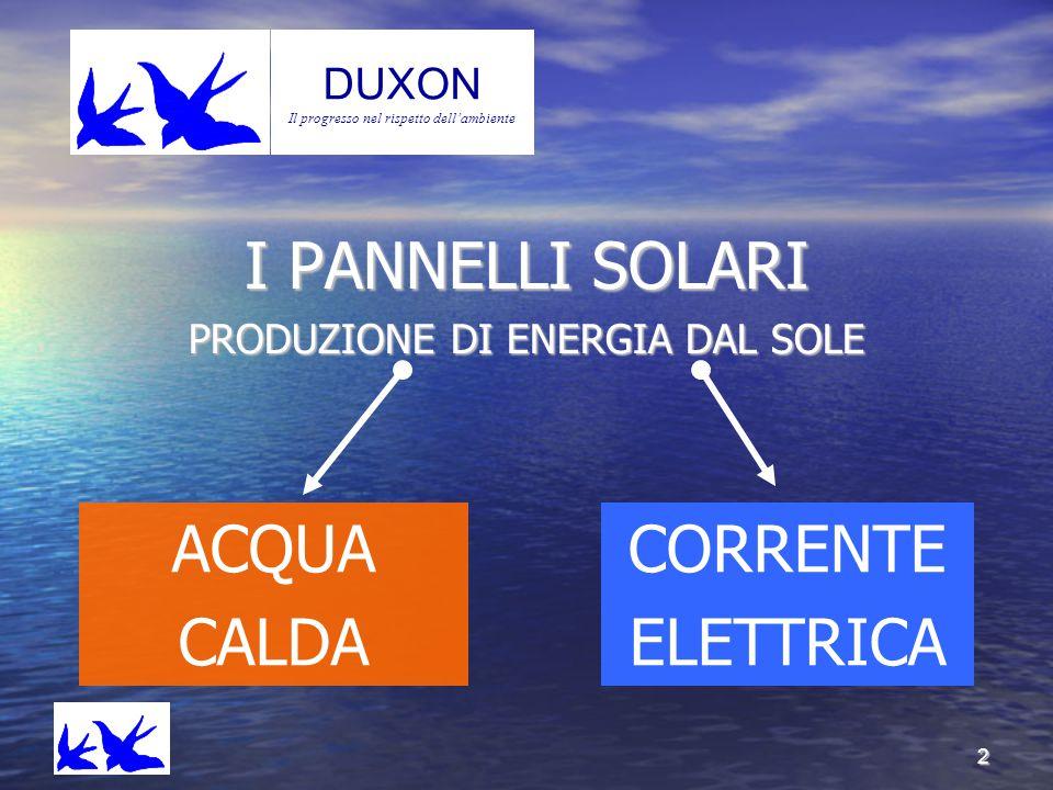 I PANNELLI SOLARI ACQUA CALDA CORRENTE ELETTRICA Duxo n DUXON