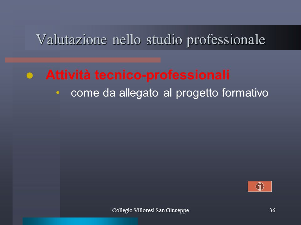 Valutazione nello studio professionale