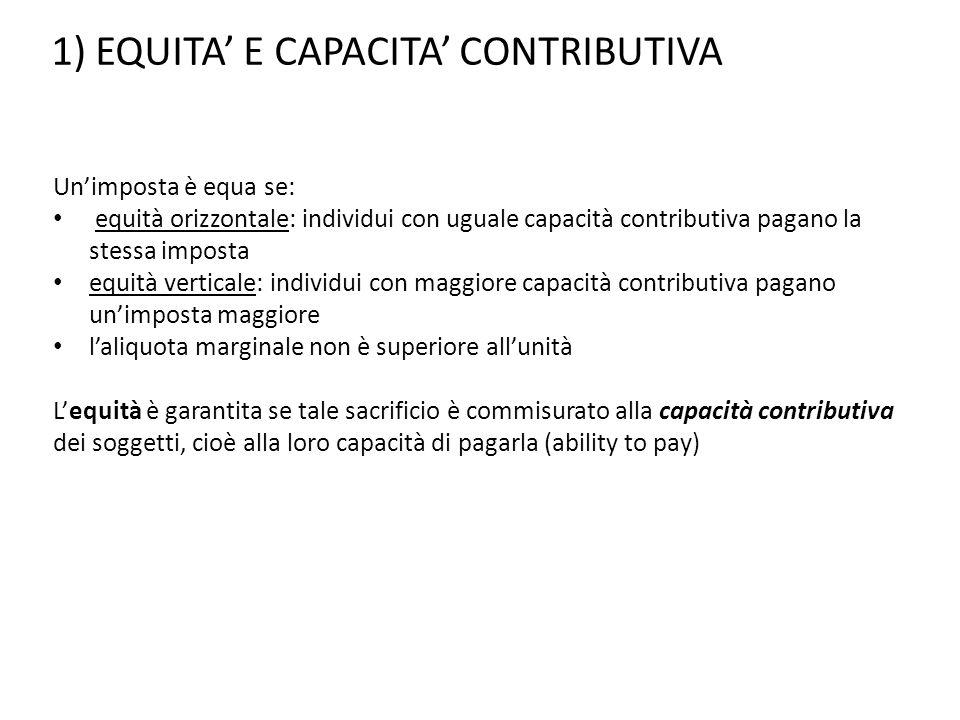 1) EQUITA' E CAPACITA' CONTRIBUTIVA