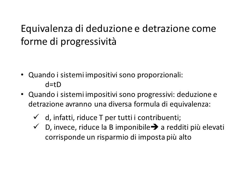 Equivalenza di deduzione e detrazione come forme di progressività