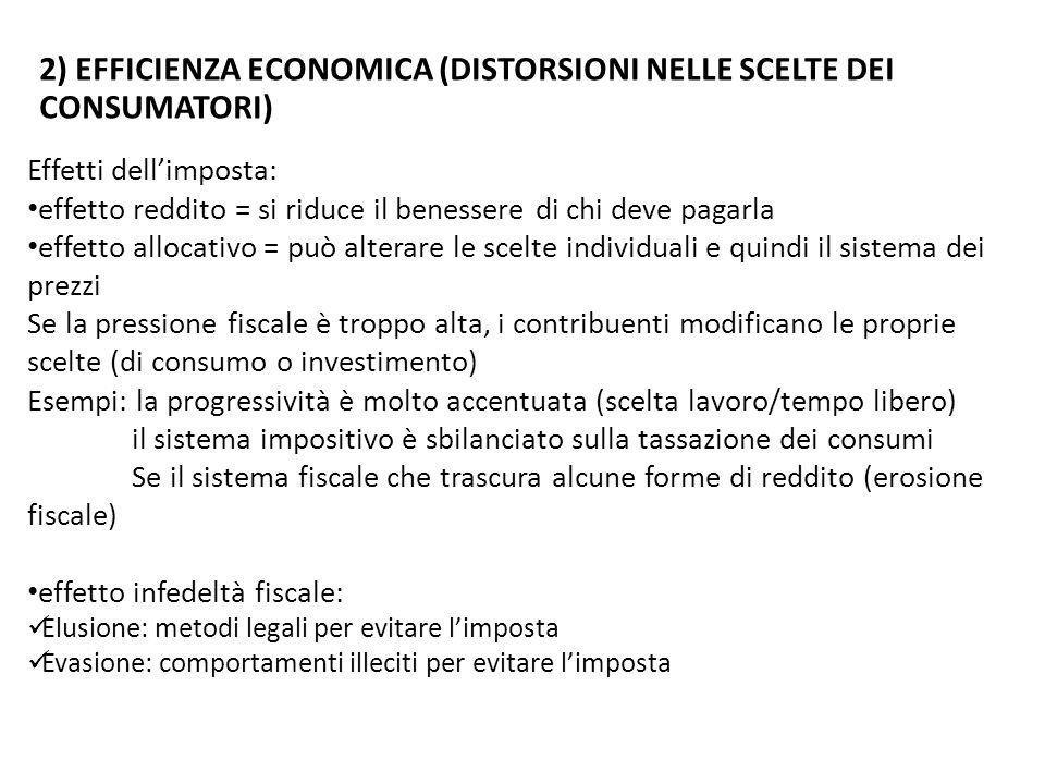 2) Efficienza economica (distorsioni nelle scelte dei consumatori)