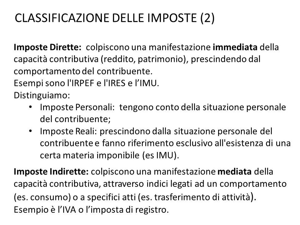 CLASSIFICAZIONE DELLE IMPOSTE (2)