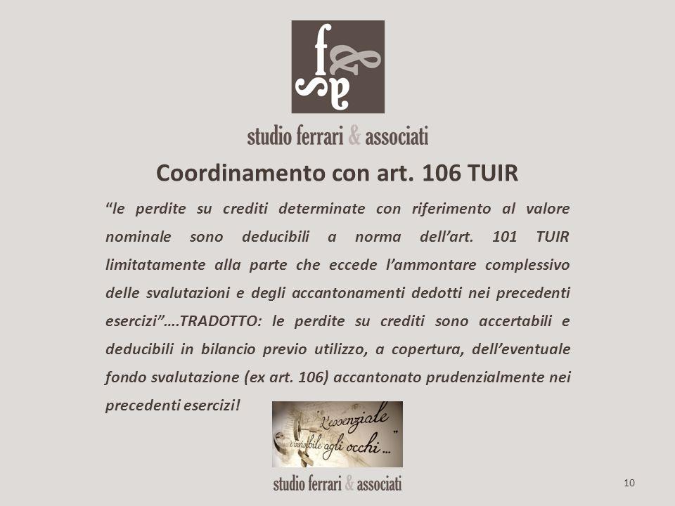 Coordinamento con art. 106 TUIR