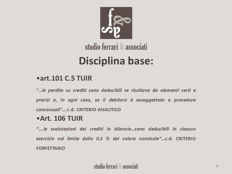 Disciplina base: art.101 C.5 TUIR Art. 106 TUIR