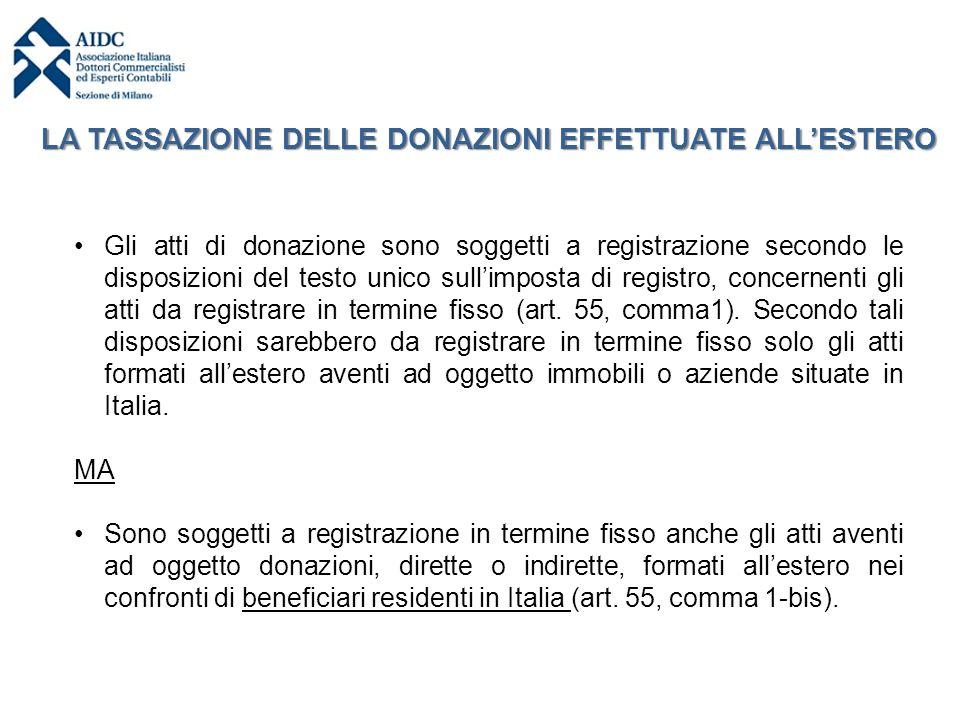 LA TASSAZIONE DELLE DONAZIONI EFFETTUATE ALL'ESTERO