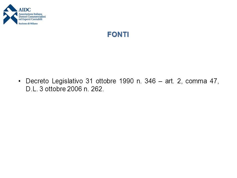 FONTI Decreto Legislativo 31 ottobre 1990 n. 346 – art. 2, comma 47, D.L. 3 ottobre 2006 n. 262.