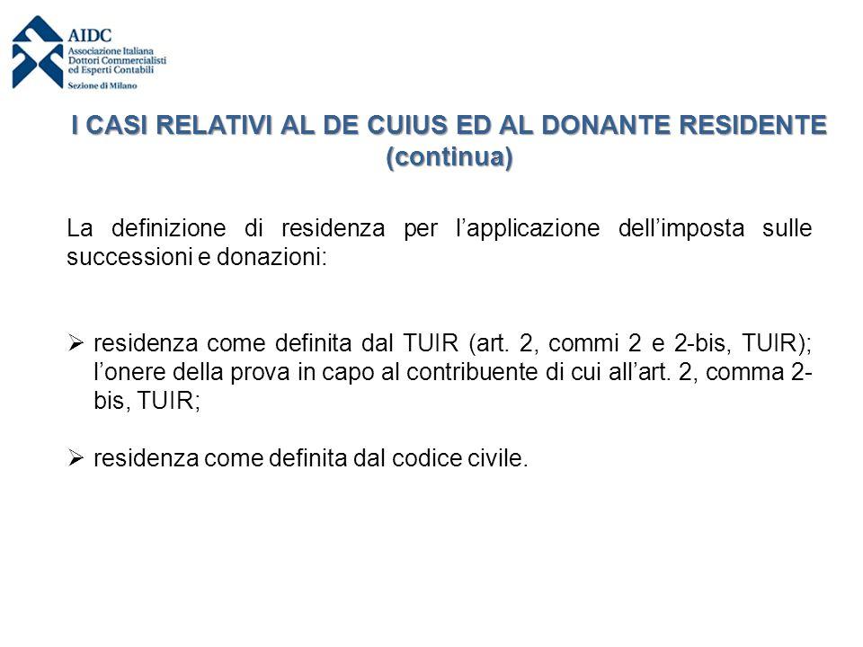 I CASI RELATIVI AL DE CUIUS ED AL DONANTE RESIDENTE