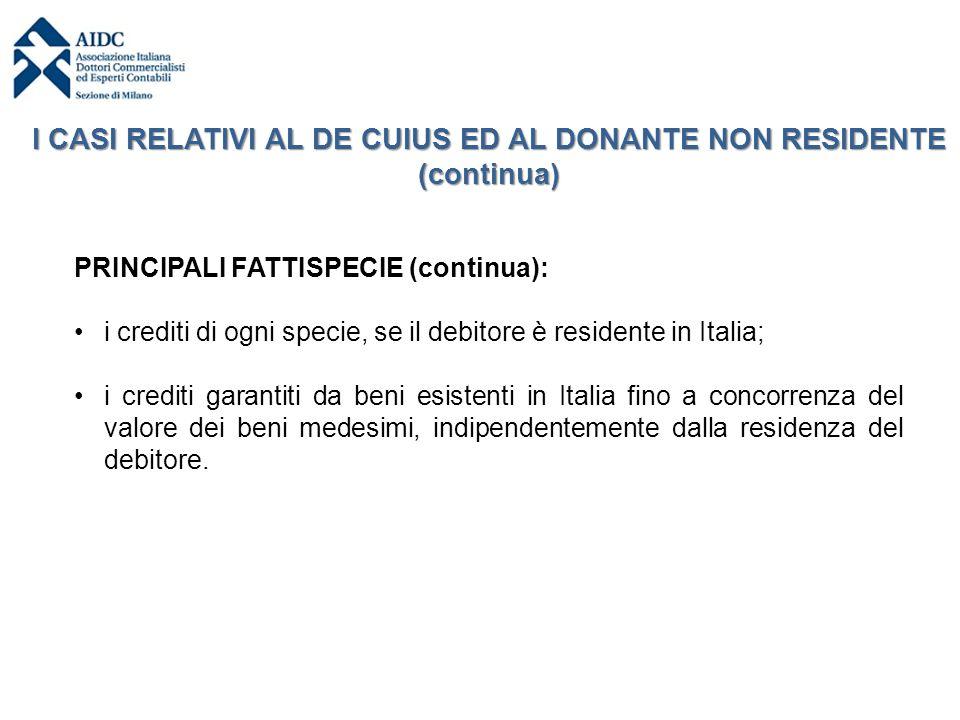 I CASI RELATIVI AL DE CUIUS ED AL DONANTE NON RESIDENTE