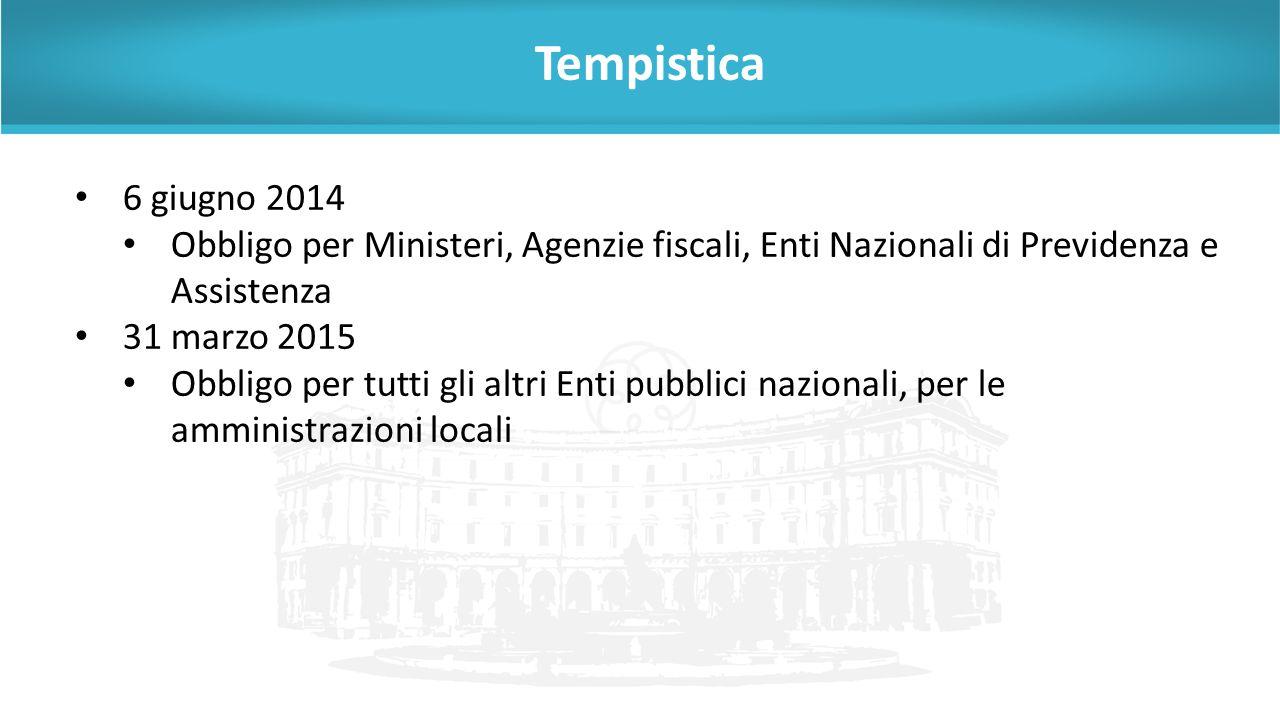 Tempistica 6 giugno 2014. Obbligo per Ministeri, Agenzie fiscali, Enti Nazionali di Previdenza e Assistenza.