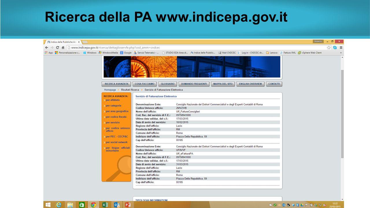 Ricerca della PA www.indicepa.gov.it