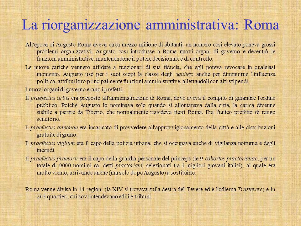 La riorganizzazione amministrativa: Roma