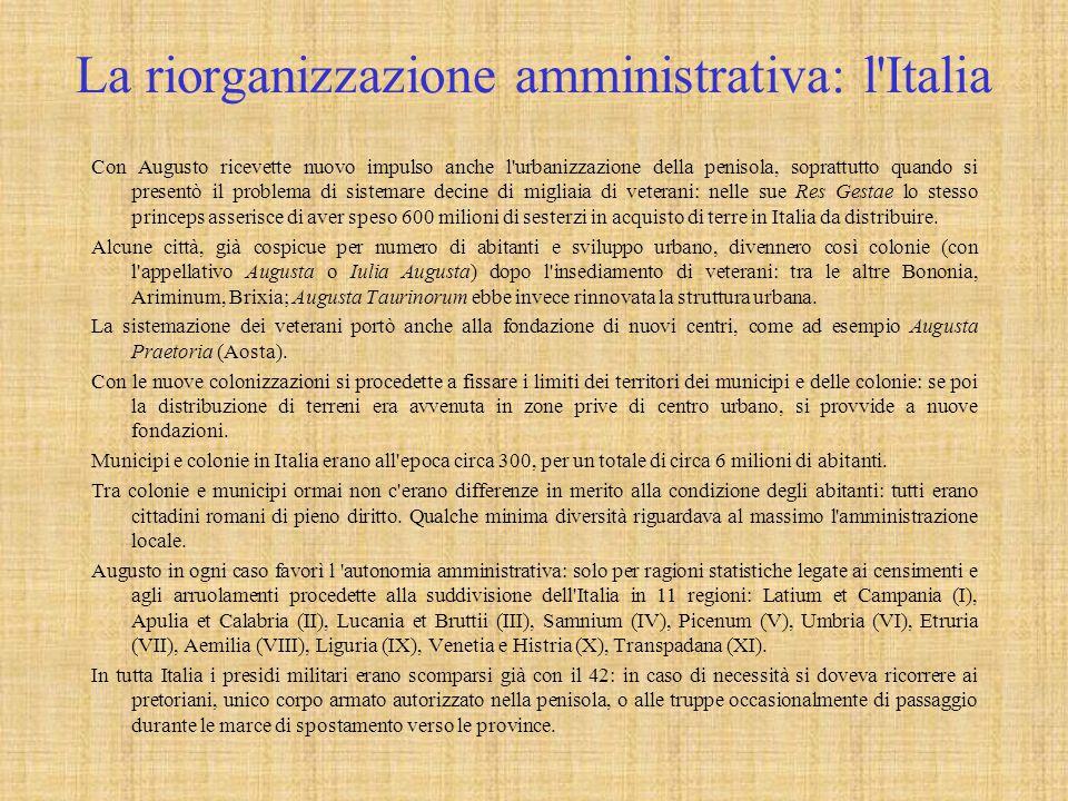 La riorganizzazione amministrativa: l Italia