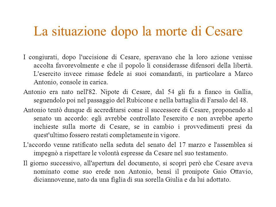 La situazione dopo la morte di Cesare