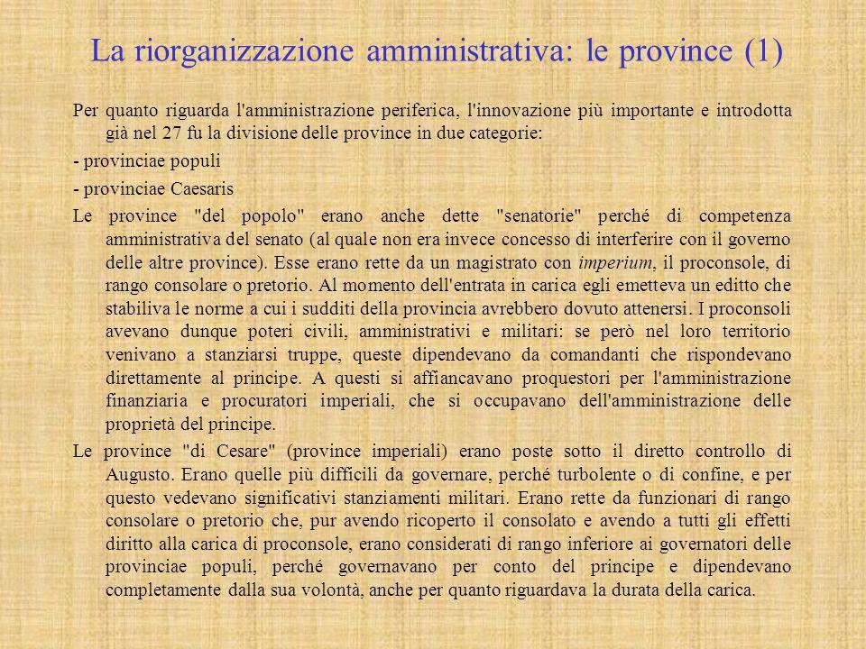 La riorganizzazione amministrativa: le province (1)
