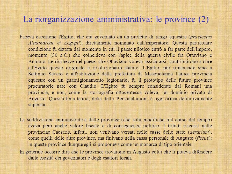 La riorganizzazione amministrativa: le province (2)