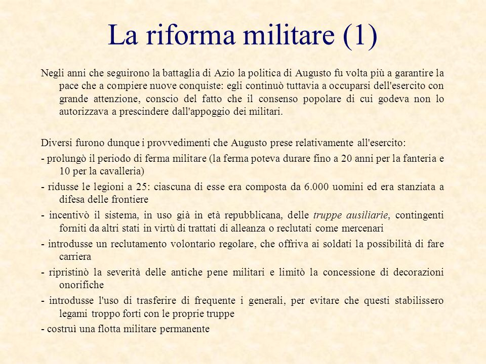 La riforma militare (1)