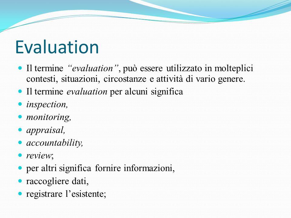 Evaluation Il termine evaluation , può essere utilizzato in molteplici contesti, situazioni, circostanze e attività di vario genere.