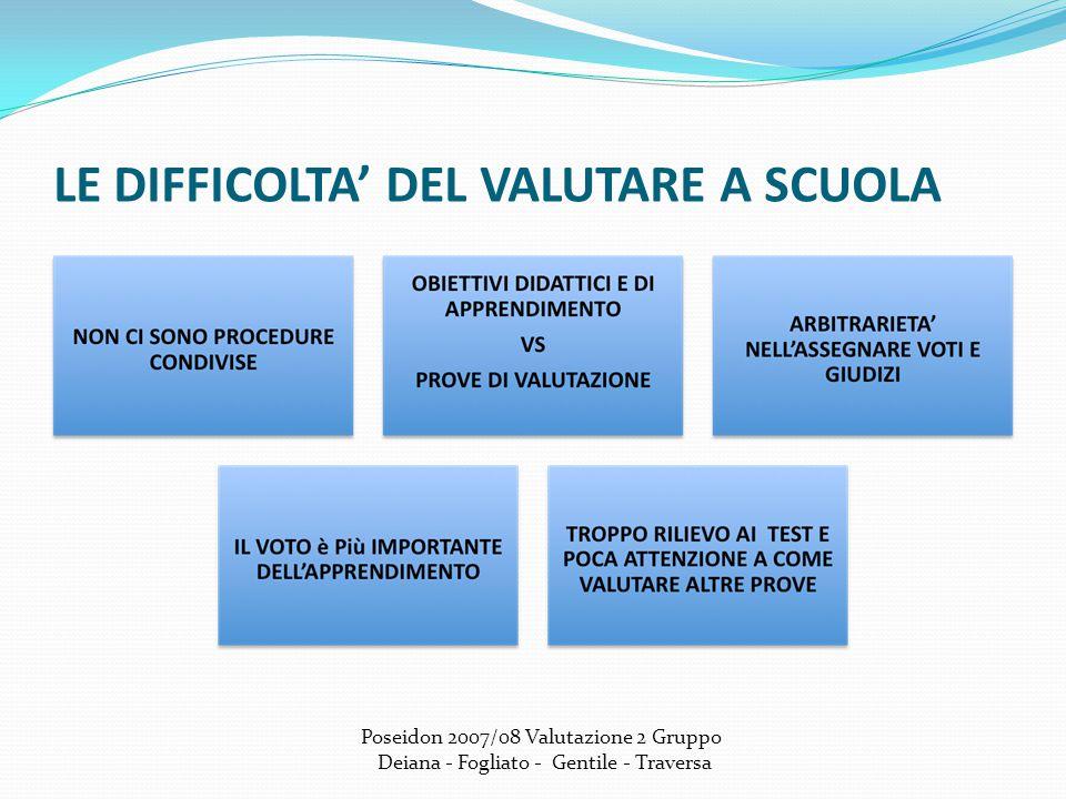LE DIFFICOLTA' DEL VALUTARE A SCUOLA