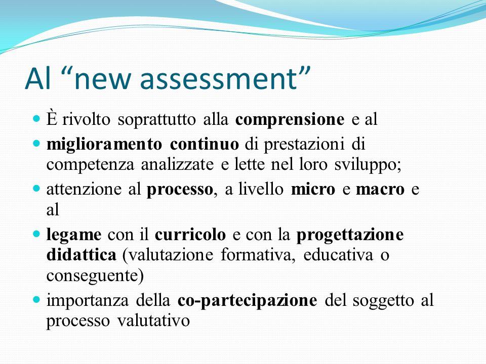 Al new assessment È rivolto soprattutto alla comprensione e al