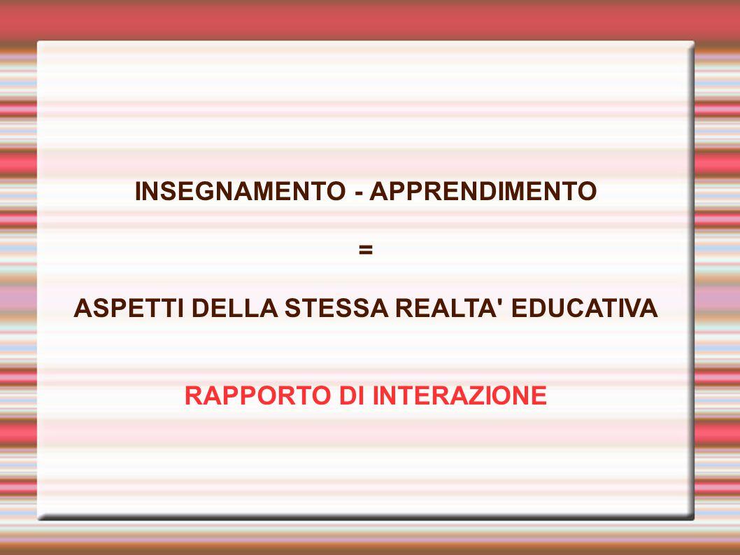 INSEGNAMENTO - APPRENDIMENTO = ASPETTI DELLA STESSA REALTA EDUCATIVA