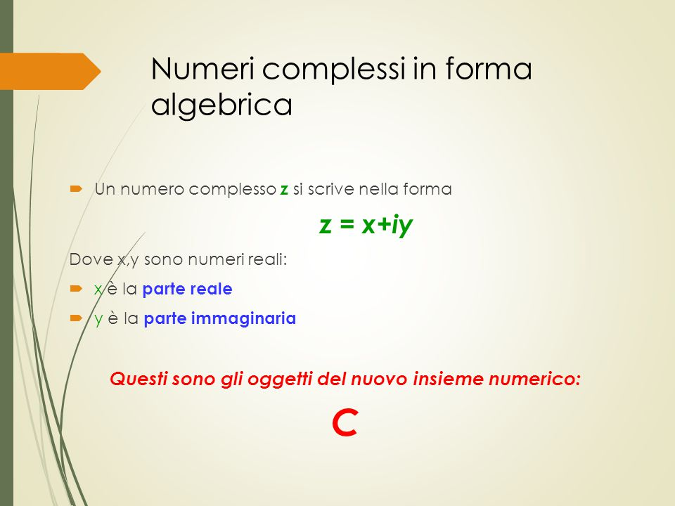 Numeri complessi in forma algebrica
