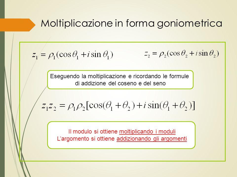 Moltiplicazione in forma goniometrica