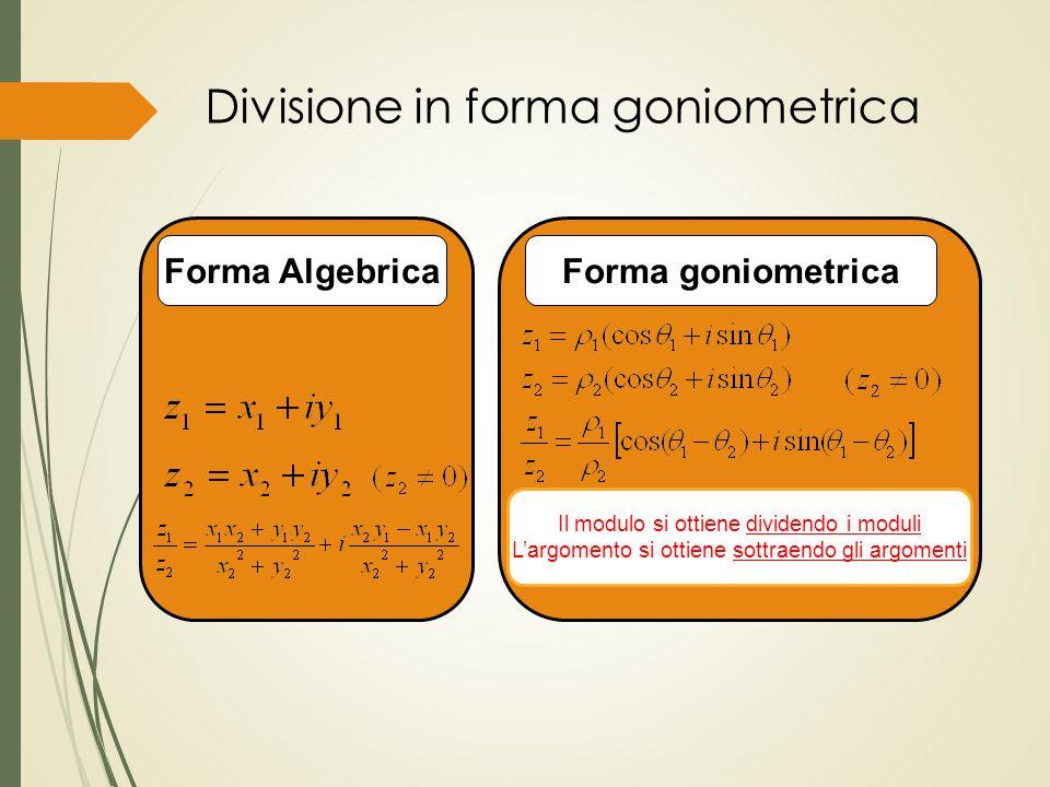 Divisione in forma goniometrica