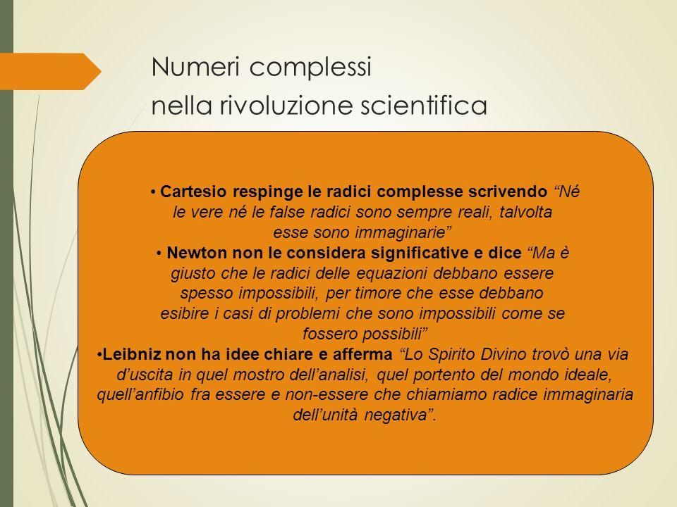 Numeri complessi nella rivoluzione scientifica
