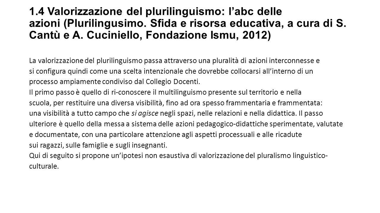 1.4 Valorizzazione del plurilinguismo: l'abc delle azioni (Plurilingusimo. Sfida e risorsa educativa, a cura di S. Cantù e A. Cuciniello, Fondazione Ismu, 2012)